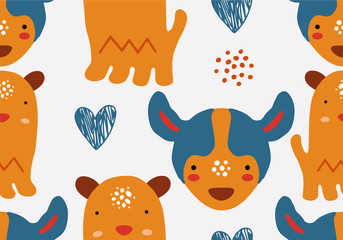 Abstract baby pattern with dog. Animal seamless cartoon illustration.
