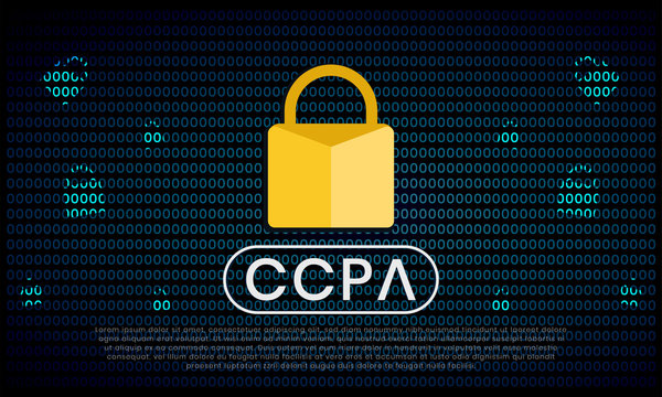 California Consumer Privacy Act (CCPA) symbol with lock illustration for editorial and websites