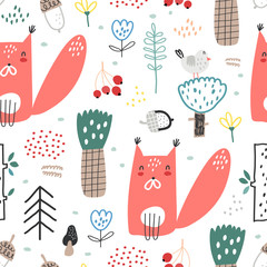 Baby seamless pattern with cute squirrels in the forest. Creative childish texture for fabric, wrapping, textile, wallpaper, apparel. Vector illustration