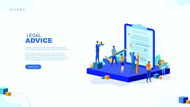 Trendy flat illustration. Legal advice page concept. Legal support. Consultation. The layer's services. Legislation. Documentation. Template for your design works. Vector graphics.