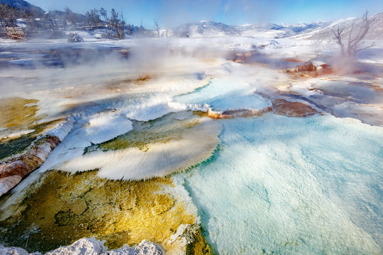 Detail on upper Mammoth Hot Springs with steamy terraces during winter snowy season in Yellowstone National Park, Wyoming, USA
