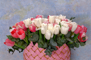 Zelfklevend Fotobehang Lelie A bouquet of white and red tulips in a pink wicker basket on a blue background.