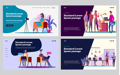 Project discussion set. Managers talking to each other, blogger speaking at camera. Flat vector illustrations. Business, project management concept for banner, website design or landing web page
