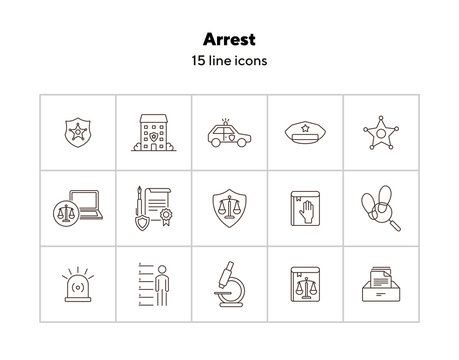 Arrest line icon set. Police department, car, sheriff badge. Police concept. Can be used for topics like justice, crime, investigation