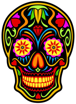 Vector illustration of a colorfully decorated black sugar skull (calavera).