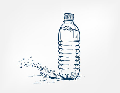 bottle water vector one line art drink isolated sketch