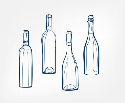 wine bottles vector one line art drink isolated sketch