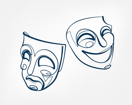 mask one line vector isolated design element