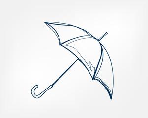Obraz umbrella one line vector isolated design element - fototapety do salonu