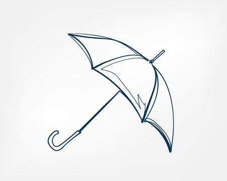 umbrella one line vector isolated design element