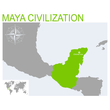 vector map of the Maya civilization