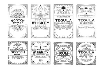 Set of scotch whiskey, tequila, rum labels. Vintage alcohol frames for bottles with lettering.