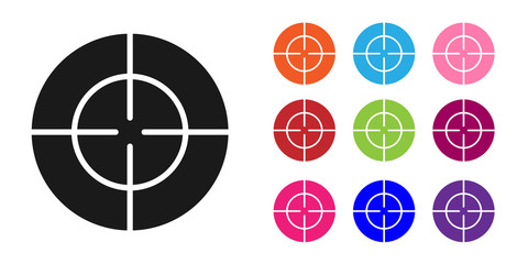 Black Target sport icon isolated on white background. Clean target with numbers for shooting range or shooting. Set icons colorful. Vector Illustration