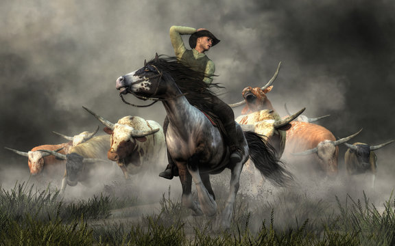 In the American Wild West, a cowboy on horseback rides for his life. Behind him, in a storm of dust, a herd of longhorn cattle stampedes after him. 3D Rendering