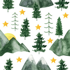 Adorable hand painted watercolor mountain and trees seamless pattern. Isolated on white background drawing for textile prints, child poster, cute stationery, travel design.