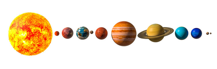 Planets of the solar system with Pluto, 3D rendering Fotomurales