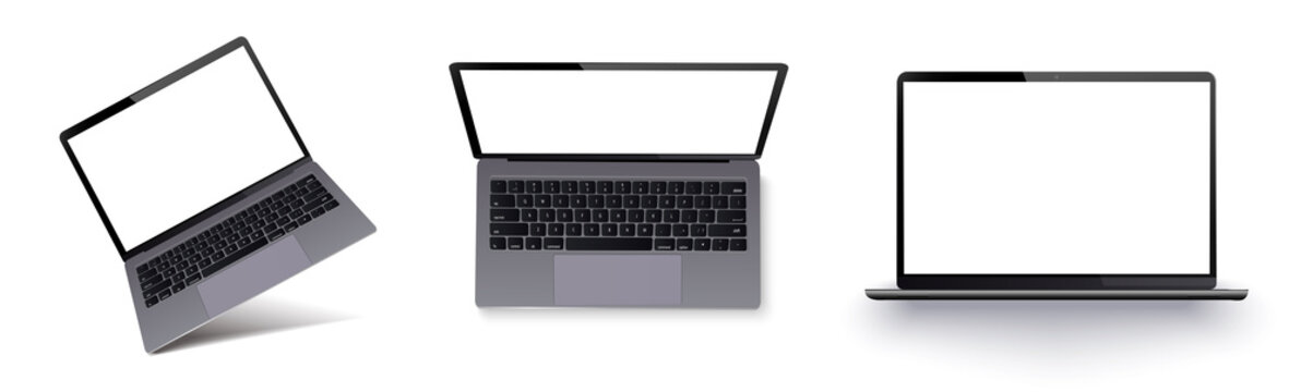 Laptop with blank screen isolated on white background.Realistic laptop incline isolated on white background. Isometric 3D style template.For web and mobile app clipart art. Concept idea design element