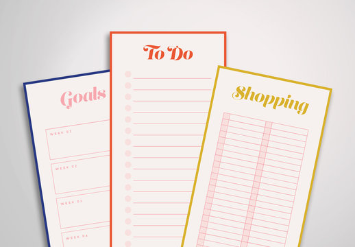 Colorful Planner Notepad Sheet Layouts