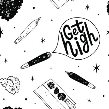 Ganja Joint Weed Marijuana seamless vector pattern background. Get high lettering. Fun doodle illustration of smoking equipment.
