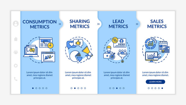 SMM strategy analysis onboarding vector template. Content marketing campaign efficiency metrics. Responsive mobile website with icons. Webpage walkthrough step screens. RGB color concept