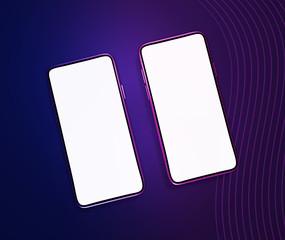 Stylish smartphones mockup. Flat lay template (3D renderings)