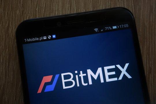 KONSKIE, POLAND - SEPTEMBER 06, 2018: BitMEX logo displayed on a modern smartphone