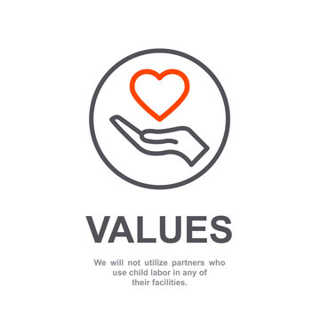 Core values of company icon with simple text. Web page for employee template design vector element. Modern flat design. Abstract flat icon. Heart in hand business concept of company care illustration