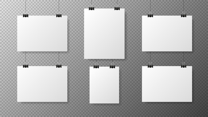 Big set blank white poster template on transparent with gradient background. Affiche, paper sheet hanging on a clip. Realistic objects on image. Vector
