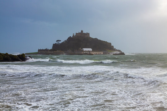 Storm at St Michaels Mount Marazion Cornwall