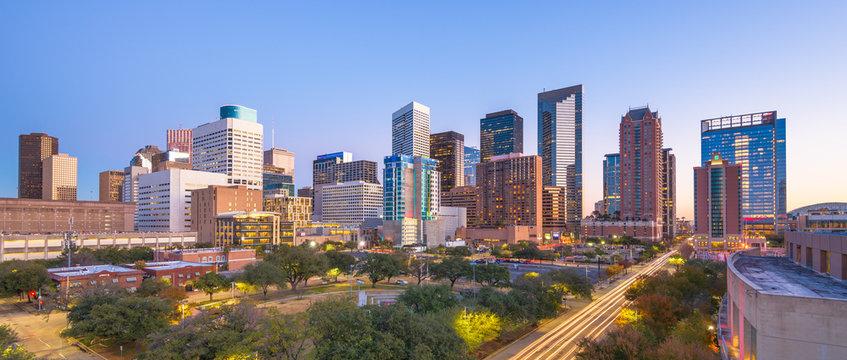 Houston, Texas, USA downtown park and skyline