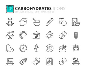 Simple set of outline icons about carbohydrates.