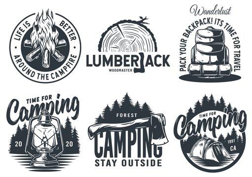 Set of camping travel outdoor adventure emblem