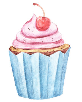 Watercolor cupcakes set with cherry. Illustration isolated on white background. Easy to use for different design of patterns, menu, greeting cards, advertisement, birthday
