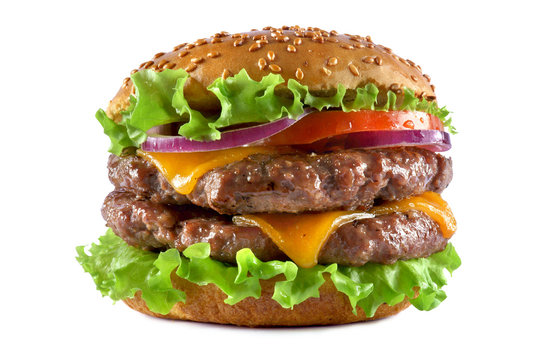double cheeseburger on a white background