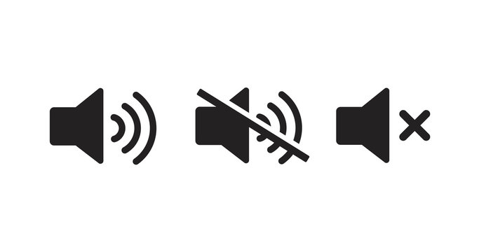 Sound off vector icon. Mute button speaker. Volume sign.
