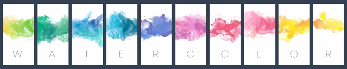 Fotobehang - Set of colorful vector watercolor vertical backgrounds for poster, banner or flyer