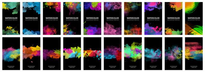 Fotobehang - Big set of bright vector colorful watercolor on black background for poster, brochure or flyer