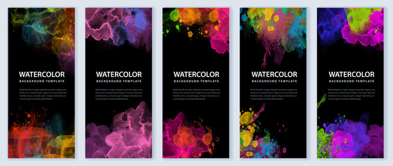 Big set of bright vector colorful watercolor on black background for poster, brochure or flyer