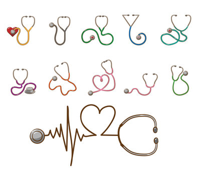 stethoscope vector set collection graphic clipart design