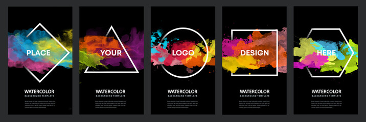 Watercolor black background over geometric frame vector design headline, logo and sale banner template set
