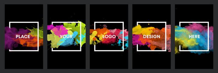 Fotobehang - Watercolor black background over square frame vector design headline, logo and sale banner template set