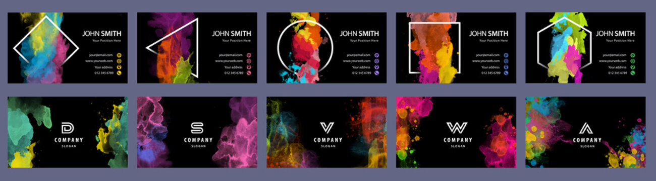 Big set of bright colorful business card template with vector watercolor black background