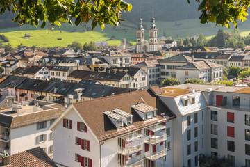 aerial view of Glarus town in canton of Glarus, Switzerland Fototapete