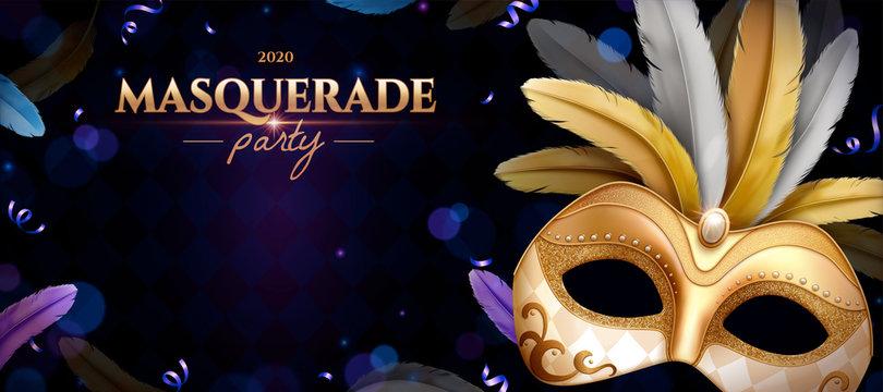 Gold masquerade mask banner
