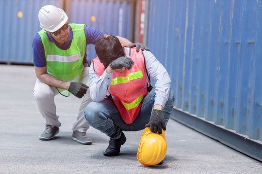 worker tired sad from stressful from hard working with friend support.
