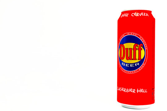 Italy - March 10, 2020: DUFF Beer, the legendary beer produced by Duff beverage GmbH