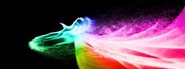 虹色に光輝く伝説の鳥がはばたく Fotomurales