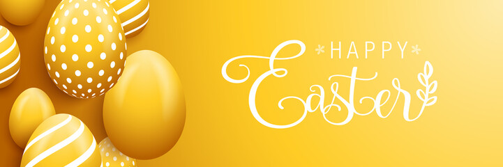 Wall Mural - Happy easter eggs banner background card