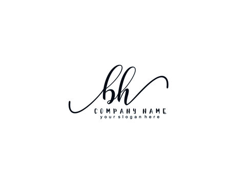 Letter BH handwrititing logo with a beautiful template