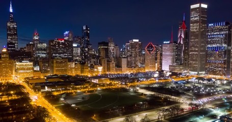 Fototapete - Chicago downtown buildings skyline aerial hyperlapse night